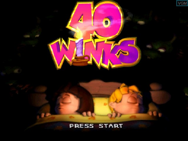 Title screen of the game 40 Winks on Sony Playstation