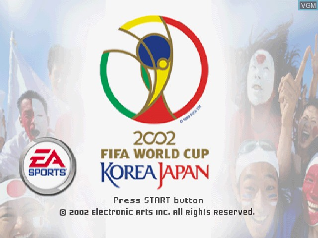 Title screen of the game 2002 FIFA World Cup Korea Japan on Sony Playstation