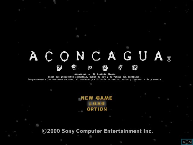Title screen of the game Aconcagua on Sony Playstation