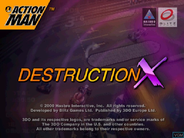 Title screen of the game Action Man - Destruction X on Sony Playstation
