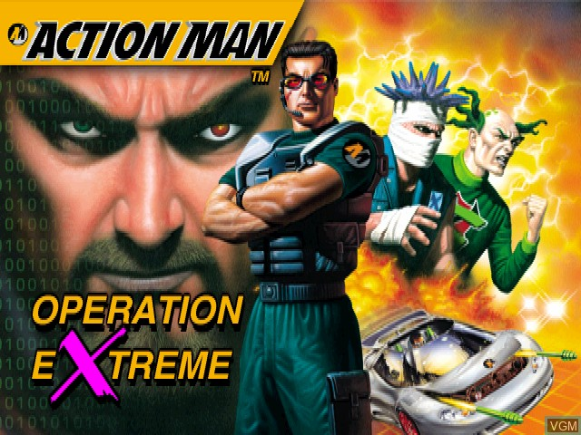 Title screen of the game Action Man - Operation Extreme on Sony Playstation