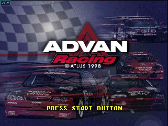 Title screen of the game Advan Racing on Sony Playstation