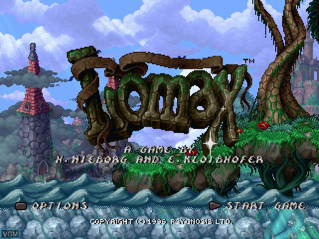 Title screen of the game Adventures of Lomax, The on Sony Playstation