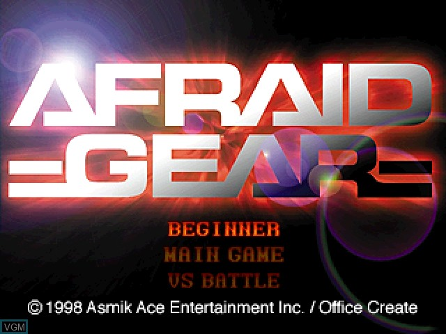 Title screen of the game Afraid Gear on Sony Playstation