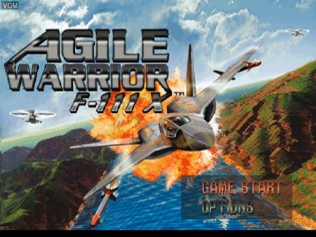 Title screen of the game Agile Warrior F-111X on Sony Playstation