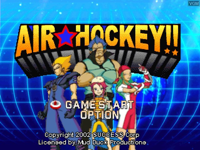 Title screen of the game Air Hockey on Sony Playstation