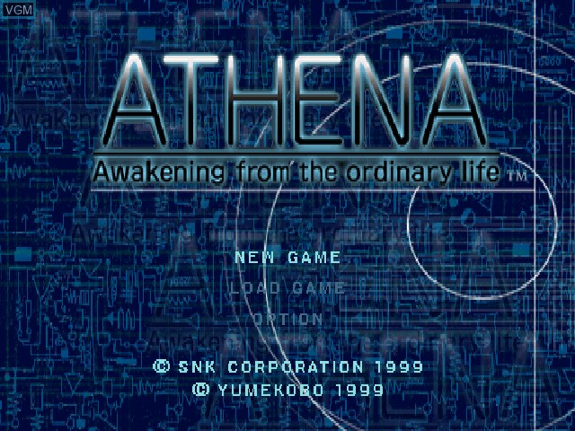 Title screen of the game Athena - Awakening from the ordinary life on Sony Playstation