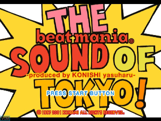 Title screen of the game Beat Mania - The Sound of Tokyo on Sony Playstation