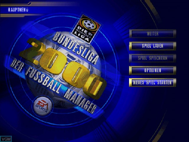 Title screen of the game Bundesliga 2000 - Der Fussball-Manager on Sony Playstation