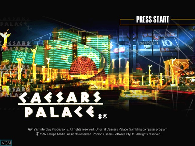 Title screen of the game Caesars Palace on Sony Playstation