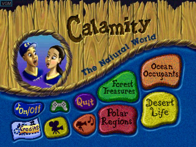 Title screen of the game Calamity 1 - The Natural World on Sony Playstation