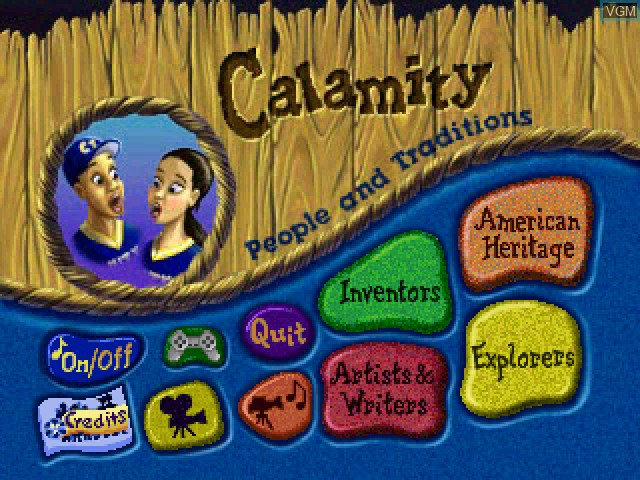Title screen of the game Calamity 2 - People and Traditions on Sony Playstation