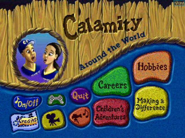 Title screen of the game Calamity 3 - Around the World on Sony Playstation