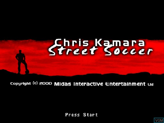 Title screen of the game Chris Kamara's Street Soccer on Sony Playstation