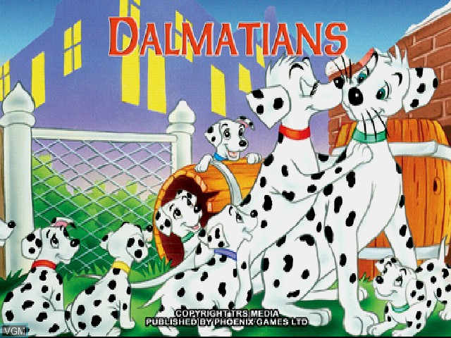 Title screen of the game Dalmatians 2 on Sony Playstation