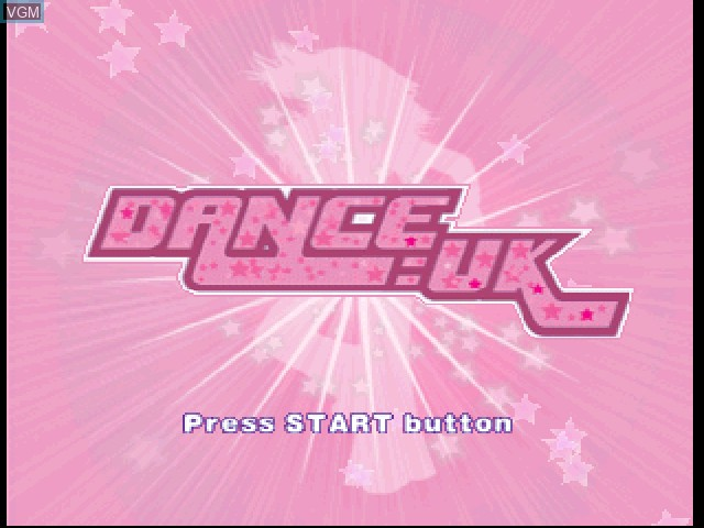 Title screen of the game Dance - UK on Sony Playstation