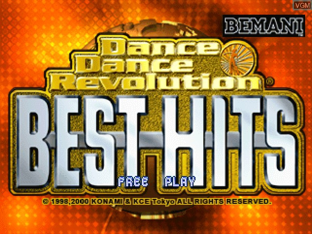 Title screen of the game Dance Dance Revolution - Best Hits on Sony Playstation