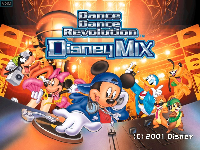 Title screen of the game Dance Dance Revolution - Disney Mix on Sony Playstation