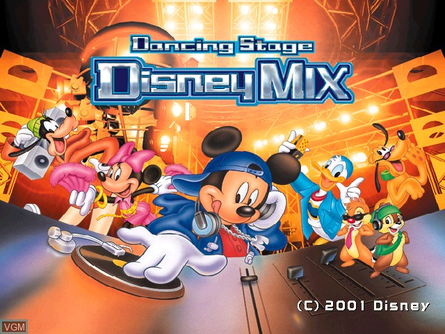 Title screen of the game Dancing Stage - Disney Mix on Sony Playstation