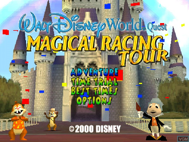 Title screen of the game Walt Disney World Quest - Magical Racing Tour on Sony Playstation