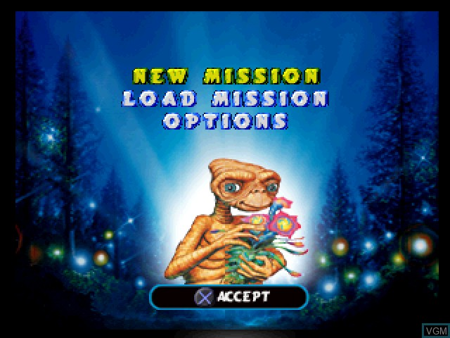 Title screen of the game E.T. the Extra-Terrestrial - Interplanetary Mission on Sony Playstation
