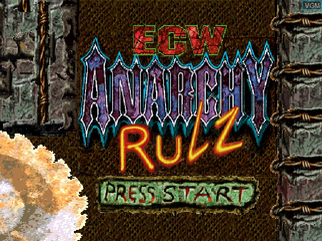 Title screen of the game ECW Anarchy Rulz on Sony Playstation