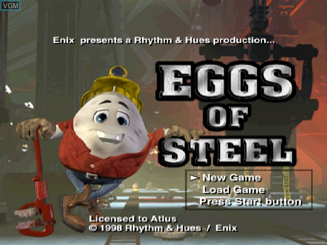 Title screen of the game Eggs of Steel - Charlie's Eggcellent Adventure on Sony Playstation