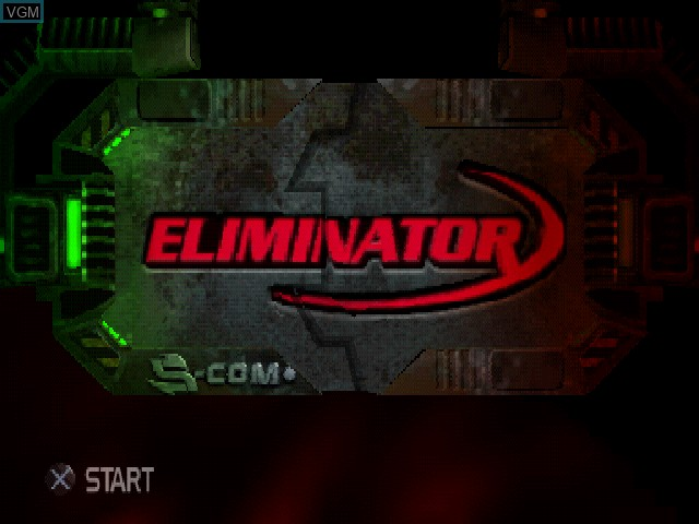 Title screen of the game Eliminator on Sony Playstation