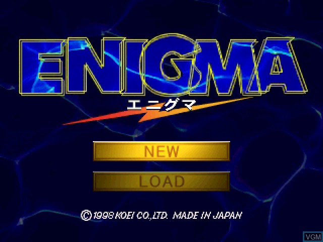 Title screen of the game Enigma on Sony Playstation