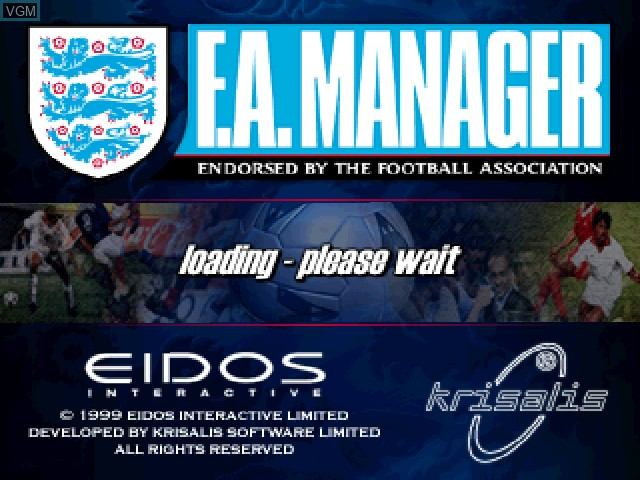 Title screen of the game F.A. Manager on Sony Playstation
