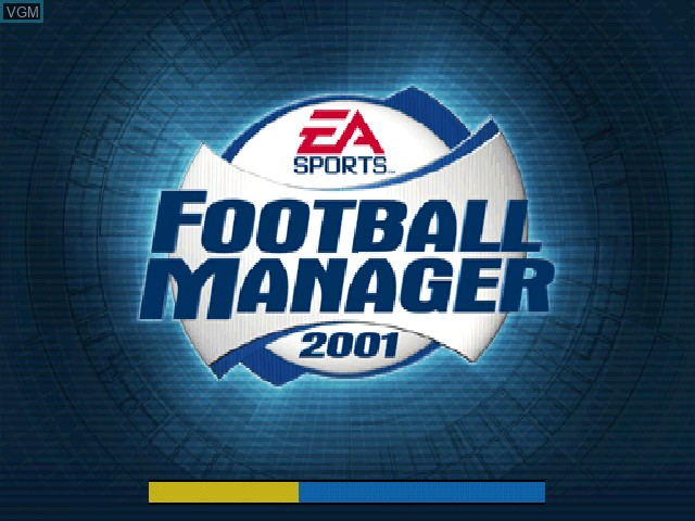 Title screen of the game F.A. Premier League Football Manager 2001, The on Sony Playstation