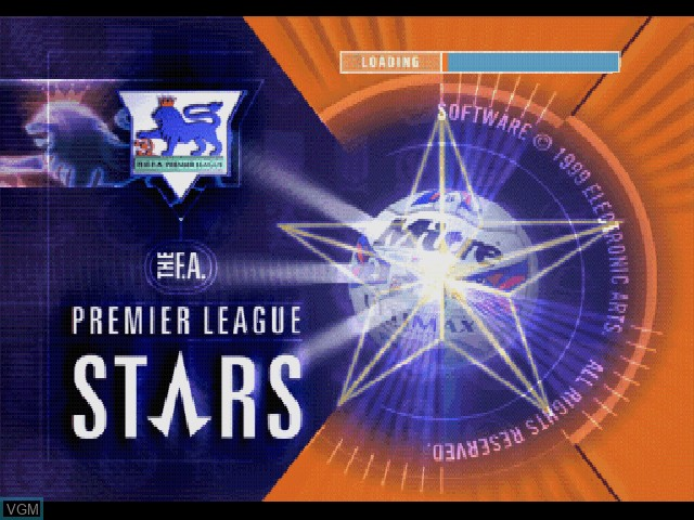 Title screen of the game F.A. Premier League Stars, The on Sony Playstation