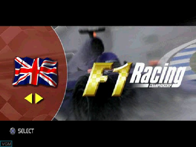 Title screen of the game F1 Racing Championship on Sony Playstation