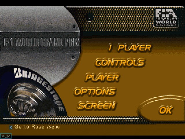 Title screen of the game F1 World Grand Prix - 1999 Season on Sony Playstation