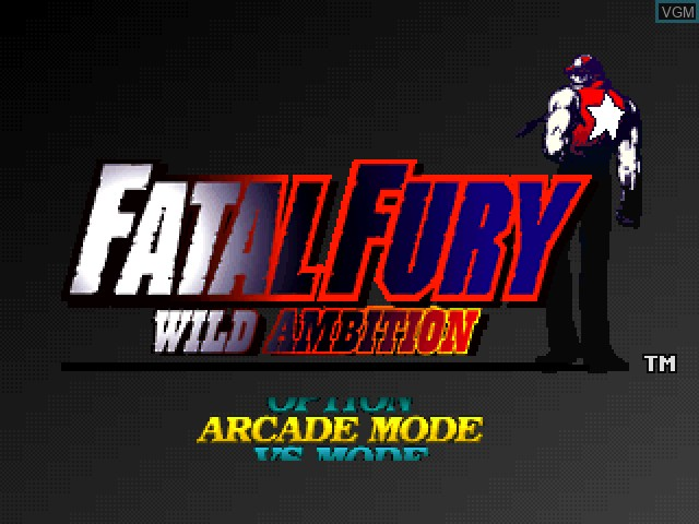 Title screen of the game Fatal Fury - Wild Ambition on Sony Playstation