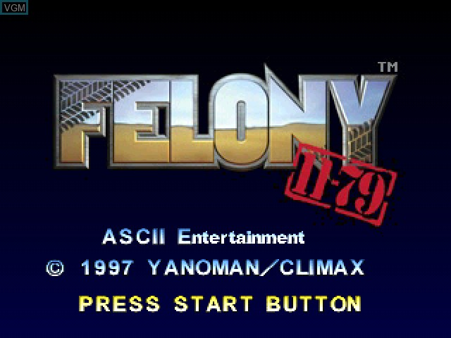 Title screen of the game Felony 11-79 on Sony Playstation