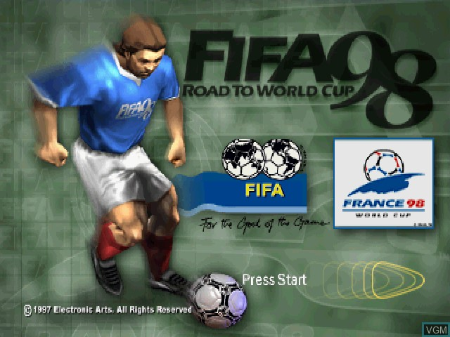 Title screen of the game FIFA - Road to World Cup 98 on Sony Playstation