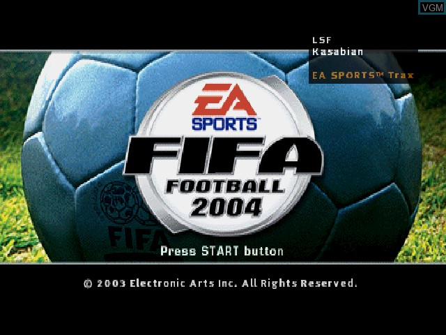 Title screen of the game FIFA Football 2004 on Sony Playstation