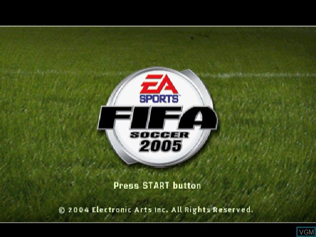 Title screen of the game FIFA Soccer 2005 on Sony Playstation