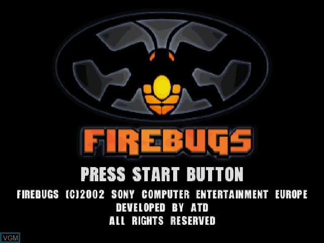 Title screen of the game Firebugs on Sony Playstation