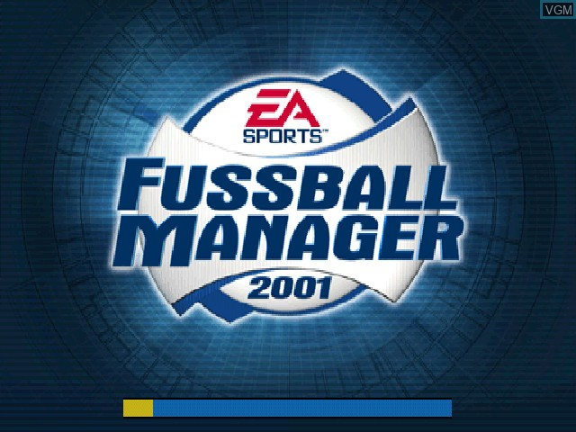 Title screen of the game Fussball Manager 2001 on Sony Playstation