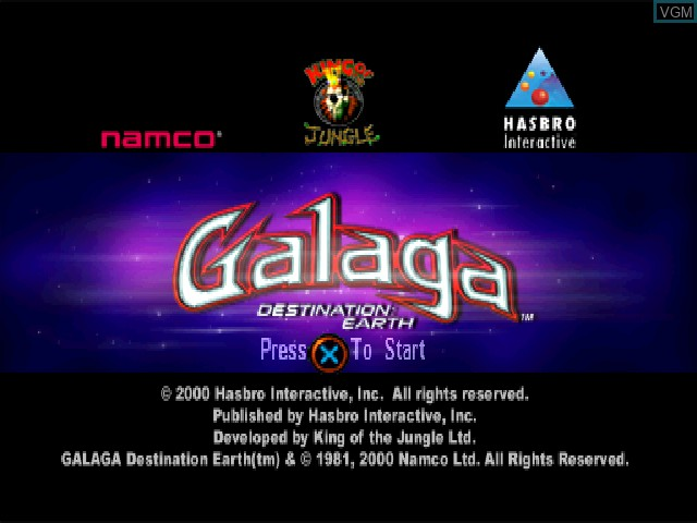 Title screen of the game Galaga - Destination Earth on Sony Playstation