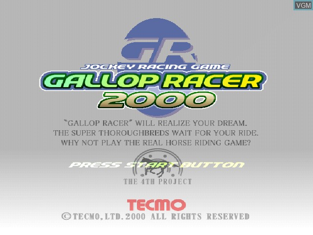 Title screen of the game Gallop Racer 2000 on Sony Playstation