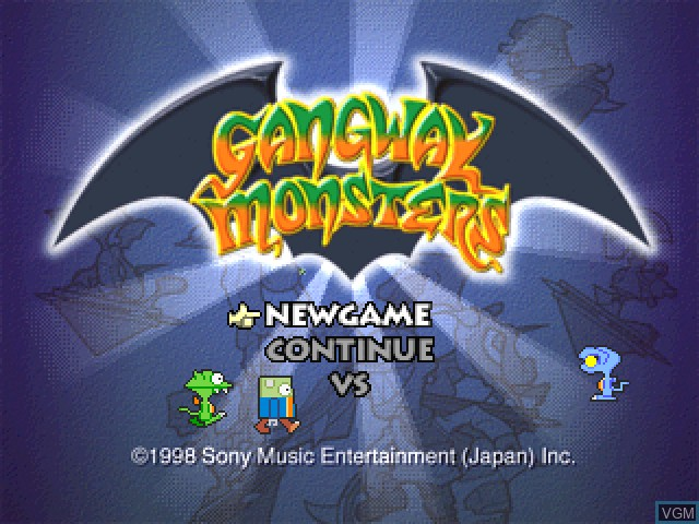 Title screen of the game Gangway Monsters on Sony Playstation