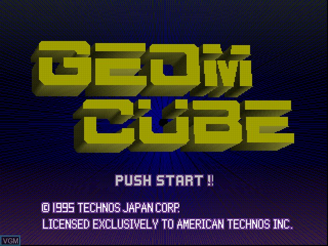 Title screen of the game Geom Cube on Sony Playstation