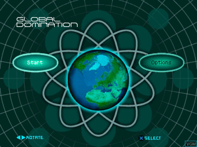 Title screen of the game Global Domination on Sony Playstation