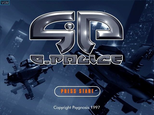 Title screen of the game G-Police on Sony Playstation