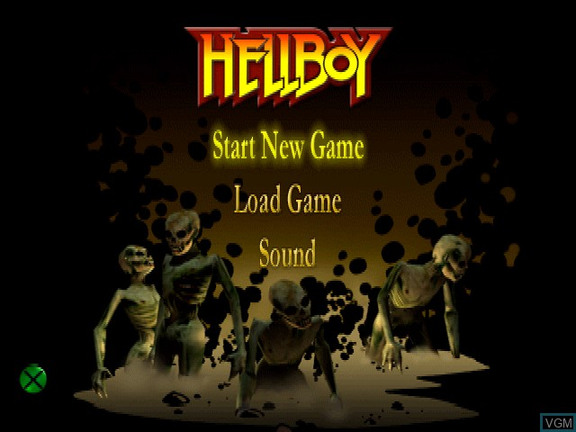 Title screen of the game Hellboy - Asylum Seeker on Sony Playstation