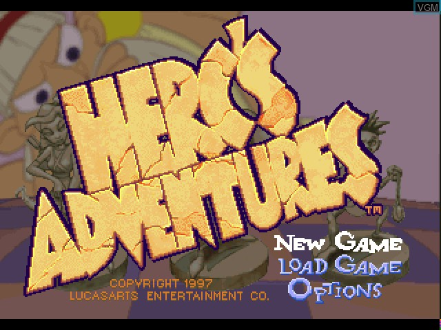 Title screen of the game Herc's Adventures on Sony Playstation