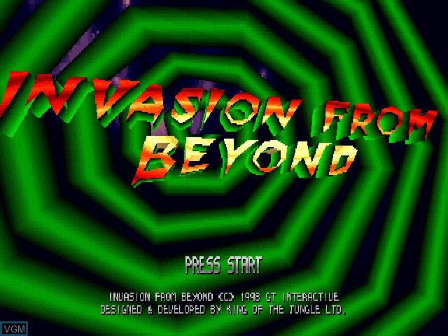 Title screen of the game Invasion from Beyond on Sony Playstation